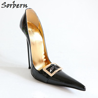 Sorbern 33 52 Slip On Pointed Toe Pump High Heels Unisex Shoes Metal Stilettos Heels Party Shoes For Women Sexy Runway Shoes