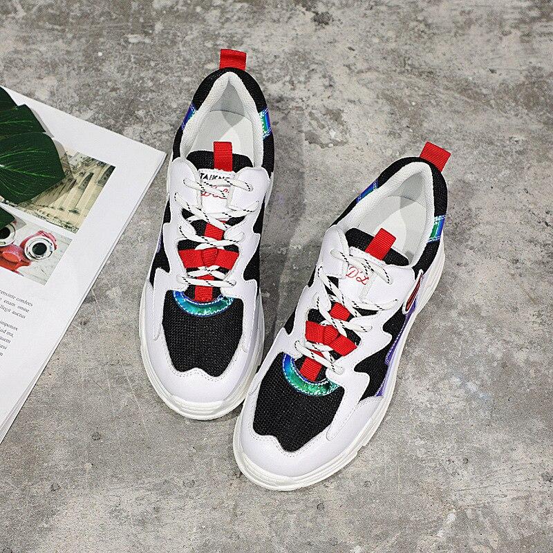 Plate Chaussures Cuir Occasionnels Terre Femmes forme Noir Automne Véritable Lady Femme En Respirant Blanc Sneaker blanc Étoiles Chaussure Marque wxB1fqx74