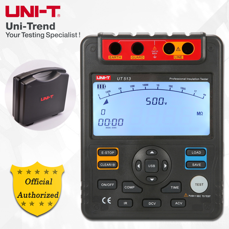 UNI T UT513 Insulation Resistance Tester; 5000V Megohmmeter, Data Storage/Analog Bar Graph/DAR/USB Data Transfer/LCD Backlight