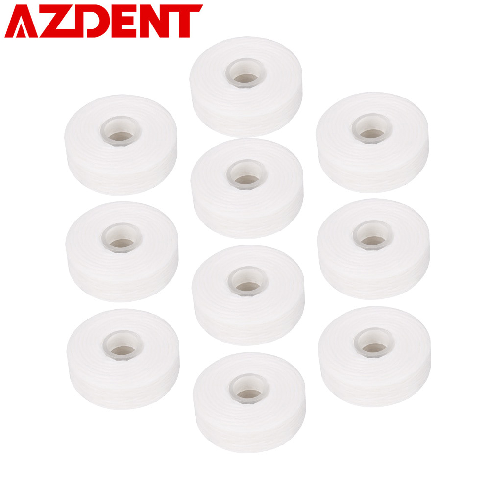 AZDENT 10Rolls Dental Flosser Built-in Spool Wax Mint Flavored Europe Replacement Flat Wire Dental Floss 50M/Roll Total 500M