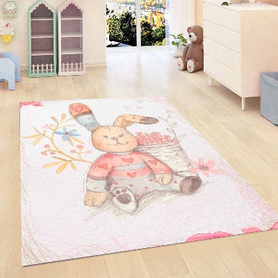 Else Gray Floor Cute Funny Rabbits Flowers Kids Room 3d Print Non Slip Microfiber Children Kids Room Decorative Area Rug Mat