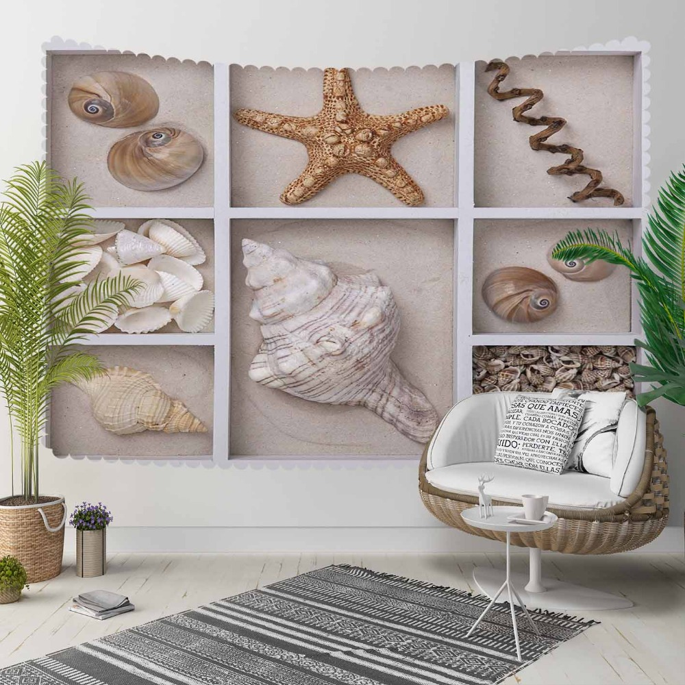 Else Brown Gray Shelfs On Tropical Sea Starts Shells 3D Print Decorative Hippi Bohemian Wall Hanging Landscape Tapestry Wall Art