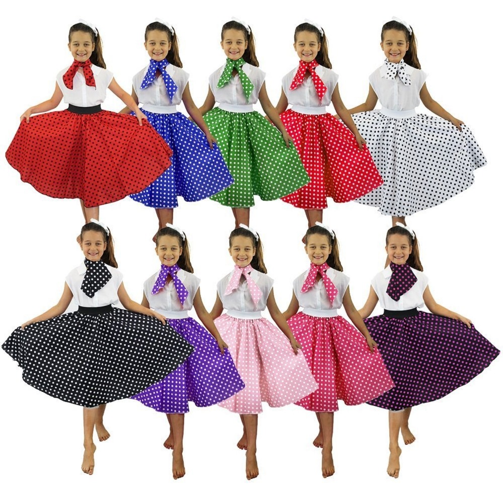 CHILD KIDS LONG POLKA DOT SKIRT & SCARF 26 INCHES ROCK AND ROLL 1950'S PARTY FANCY DRESS COSTUME DANCING CLUB