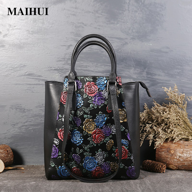 Maihui women leather handbags high quality woman shoulder bags genuine leather bag new chinese style embossing casual tote bags women leather handbags high quality real cow genuine leather bags new fashion chinese style floral shoulder bag casual tote bag