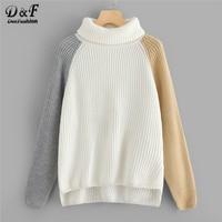 Dotfashion White Colorblock Raglan Sleeve Dip Hem Jumper Women Casual Spring Autumn High Neck Long Sleeve Pullovers Sweater