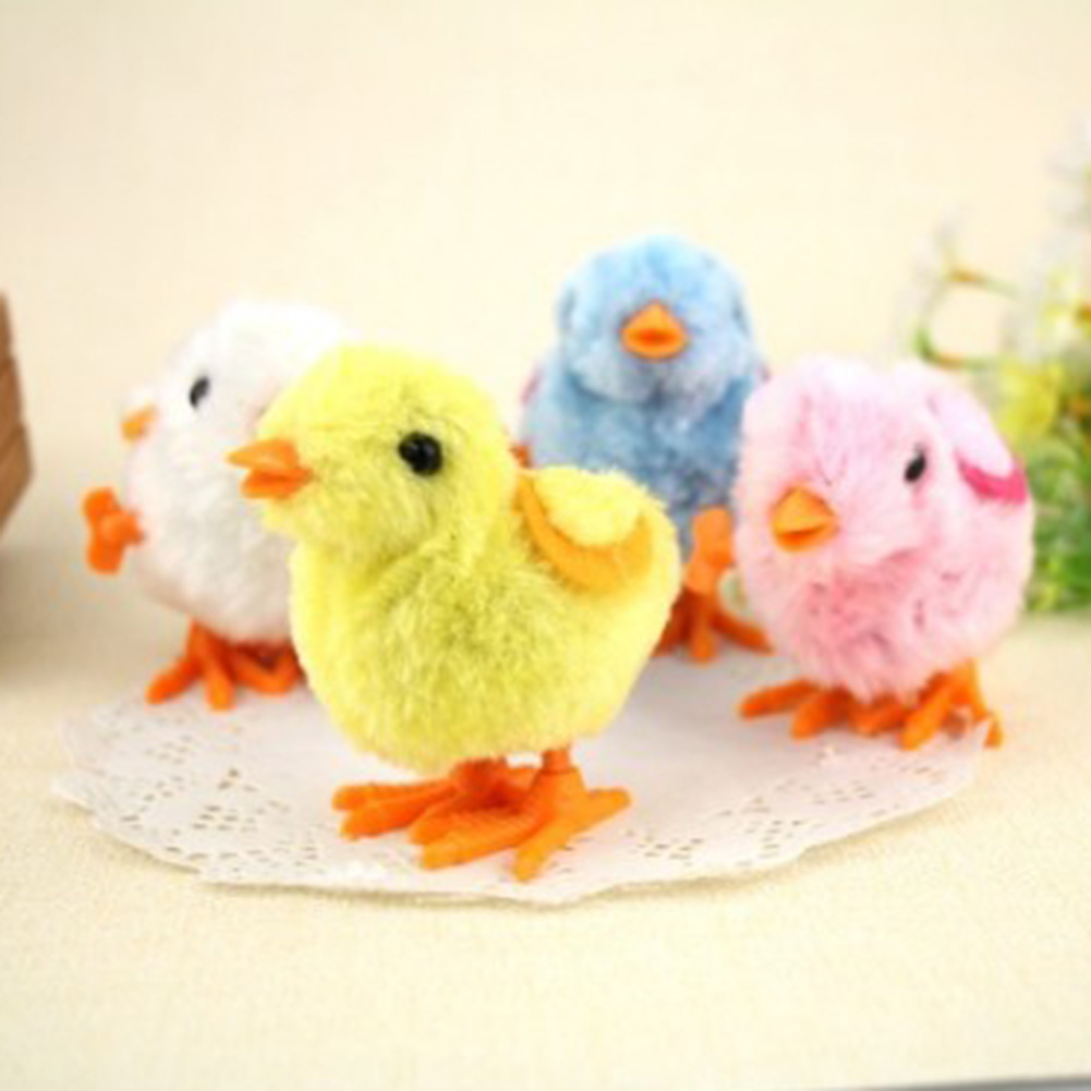 Color Random Cartoon Chick Wind Up Clockwork font b Toys b font Lovely Kids Plush Wind