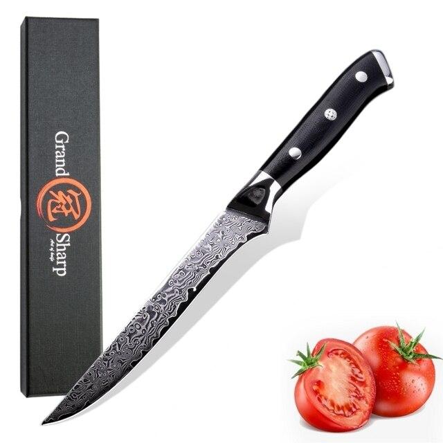 Damascus Dao Nhà Bếp Đầu Bếp của CookingTools vg10 Nhật Bản Damascus Thép Boning Dao PRO Butcher Dao Phi Lê Thịt Cá MỚI