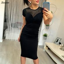 Women Summer Slim Sheath Casual Party Dress Sexy Ladies Solid Midi Short Sleeve O Neck Pencil Dresses Black Mesh 2018 Vestidos