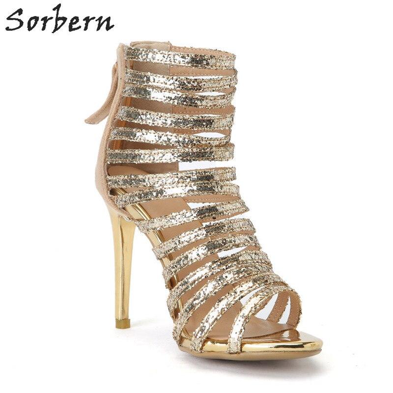2018 Femme custom Paillettes Femmes Or Mujer Tissu Chaussures La Taille Casual Sandalias Dames Gold Plus Color Sorbern Sandales D'été 8nXOwP0k