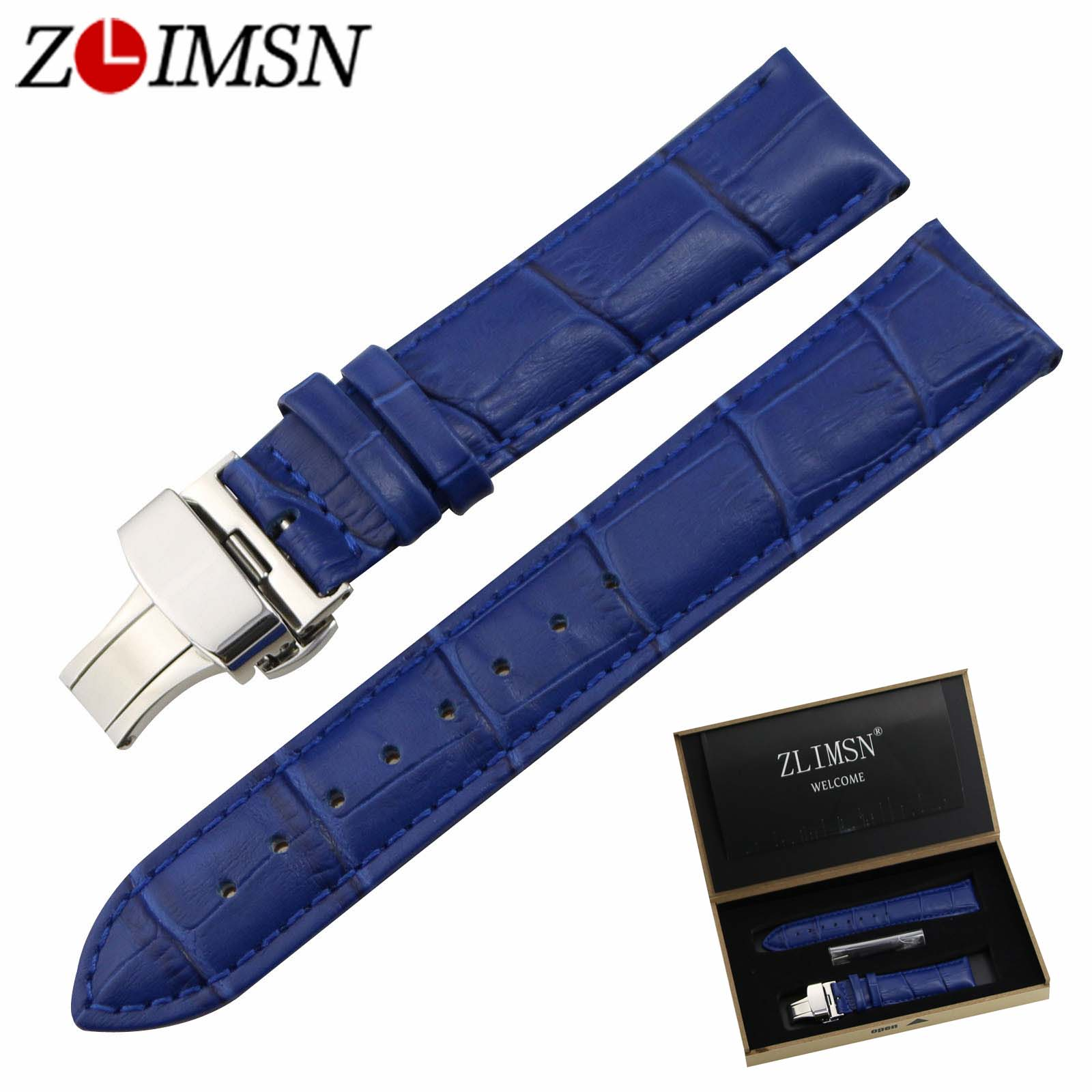 ZLIMSN Italy Genuine Leather Watch Bands Replacement Double Folding Butterfly Clasp Buckle Blue Crocodile Grain Strap 14mm~20mm free shipping new butterfly deployment watch bands double push button fold strap buckle clasp