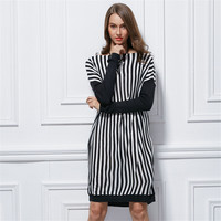 Fall Winter Fashion Slash Neck Zebra Stripped Pullover Sweater Dresses For Women Cute Girls Loosing Sweaters