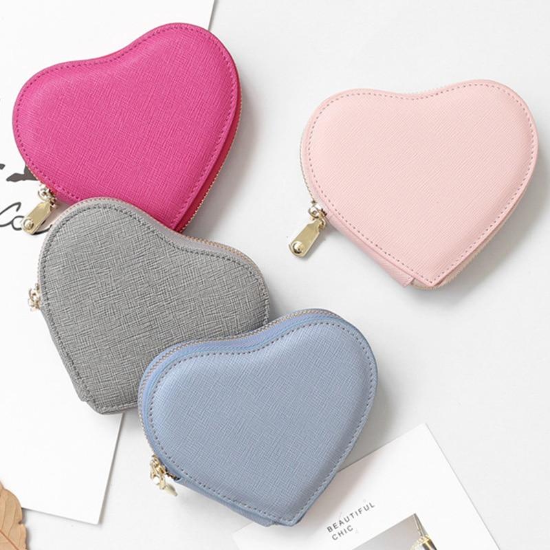 Heart Shape Saffiano Leather Coin Purse For Women Girls Cute Split Leather Small Change Purse Holders Pink Mini Bag Handmade