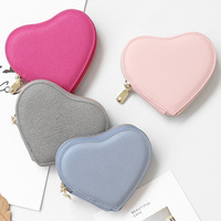 Heart Shape Saffiano Leather Coin Purse For Women Girls Cute Split Leather Small Change Purse Holders Pink Mini Bag Handmade