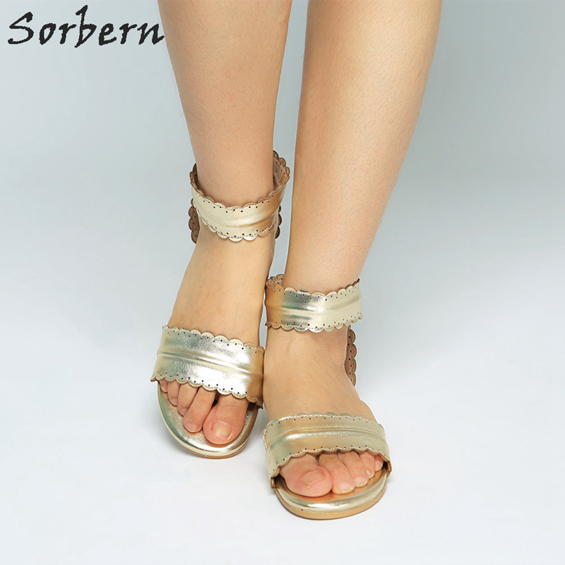 Sorbern Light Gold Ankle Wrap Women Sandals Flat Heels Open Toe Summer Shoes Ladies Shoes Size 43 Fashion Shoes Woman 2018 New