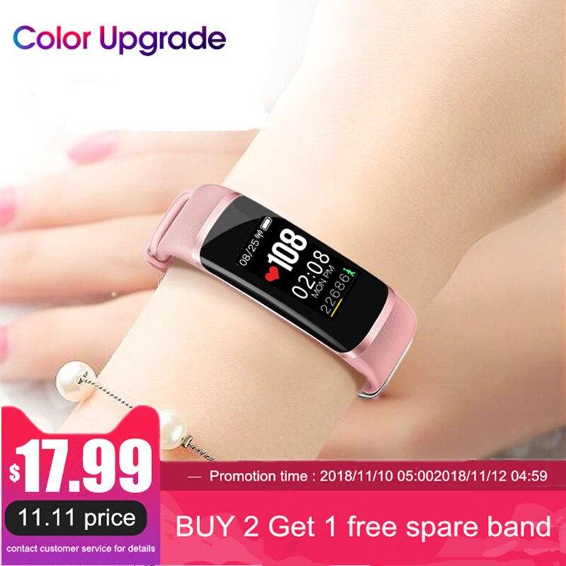 Longet Fitness Tracker M4 el chip Nrf52832 frecuencia cardíaca en tiempo real + Monitor de presión arterial inteligente pulsera de la pulsera y cronómetro