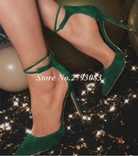 Hot Selling Green Heels Pointed toe Women Pumps Ankle Lace-up Cut-out Suede Stretch Fabric High Heels Pumps 12cm Plus Size 47
