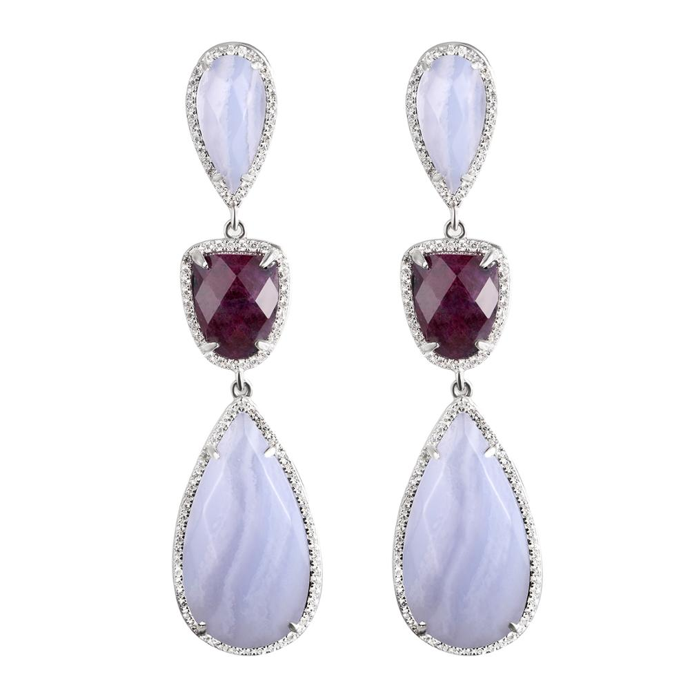 DORMITH real 925 sterling silver 11 9ct 60mmx15mm Natural ruby earring amethyst agate luxury drop earrings