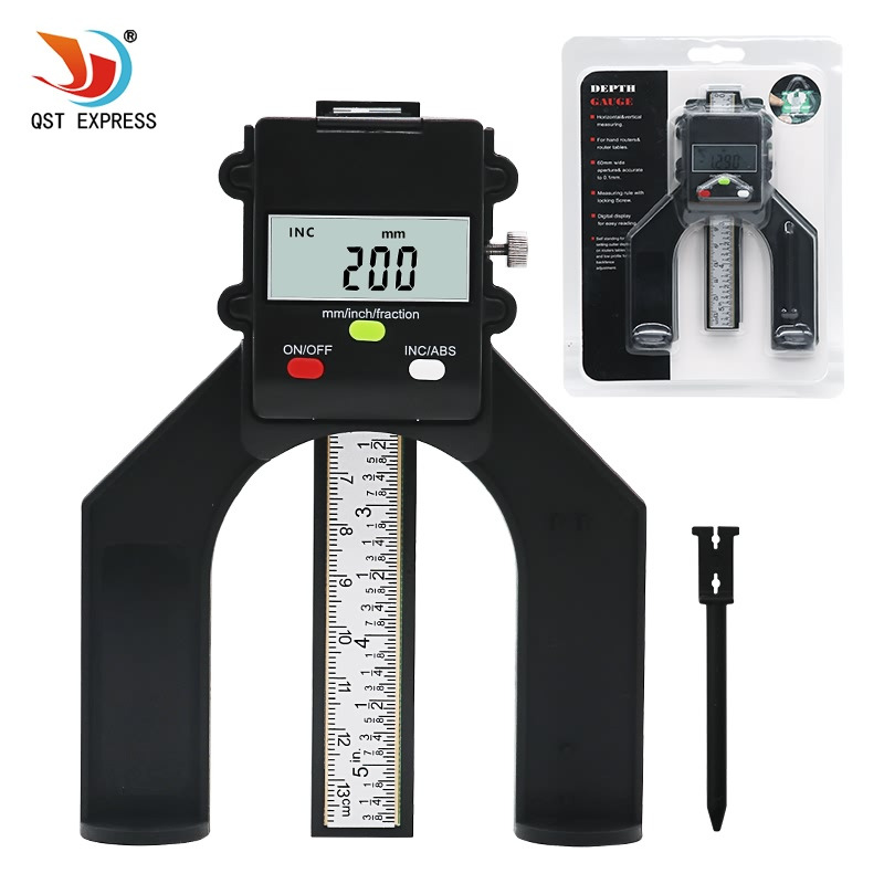 QSTEXPRESS Digital Tiefe Gauge Digitale Profiltiefenmesser LCD Magnetische Selbst Standing Blende 80mm Hand Router