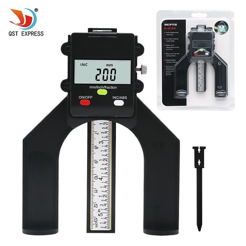 QSTEXPRESS medidor Digital de profundidad Digital de banda de rodadura medidor de profundidad LCD magnético de apertura automática de 80mm enrutadores de mano