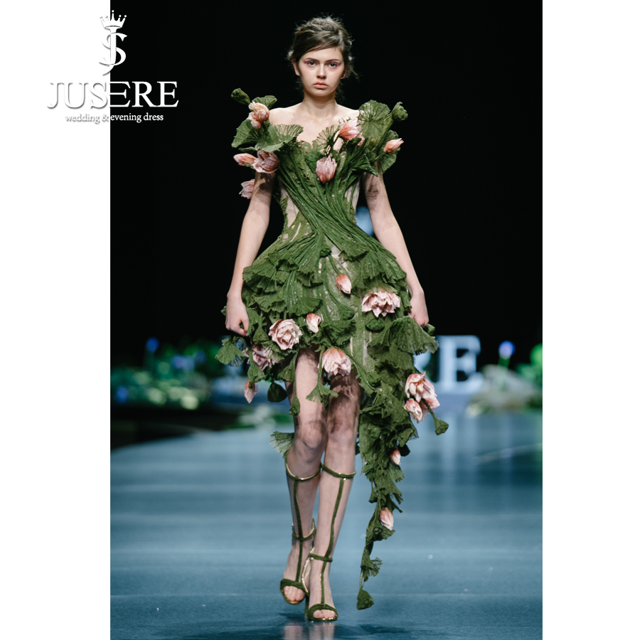 JUSERE 2019 SS FASHION SHOW Green Short Party Dress Embroidery 3D Flower Knee Length Off The Shoulder Formal Gowns Vestido
