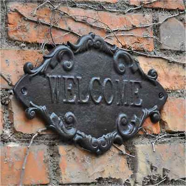 New Cast Iron French Country Cottage WELCOME Sign Plaques Wall Sticker  XD35