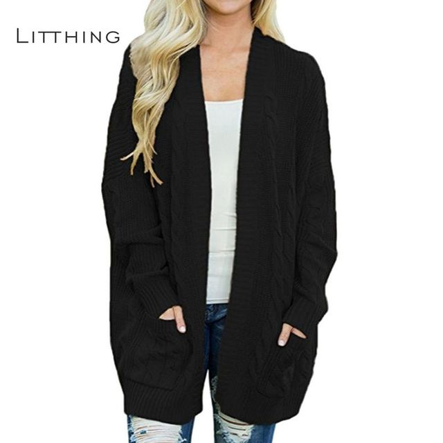LITTHING Autumn Winter Women Long Sweater Casual Long Sleeve Computer Knitted  Open Stitch Solid Pockets Female Cardigan Sweater-in Cardigans from Women s  ... 8049d7faa