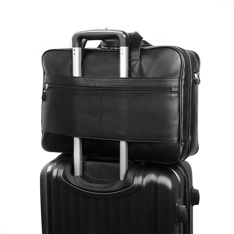 Men Black Cow Leather Briefcase 17