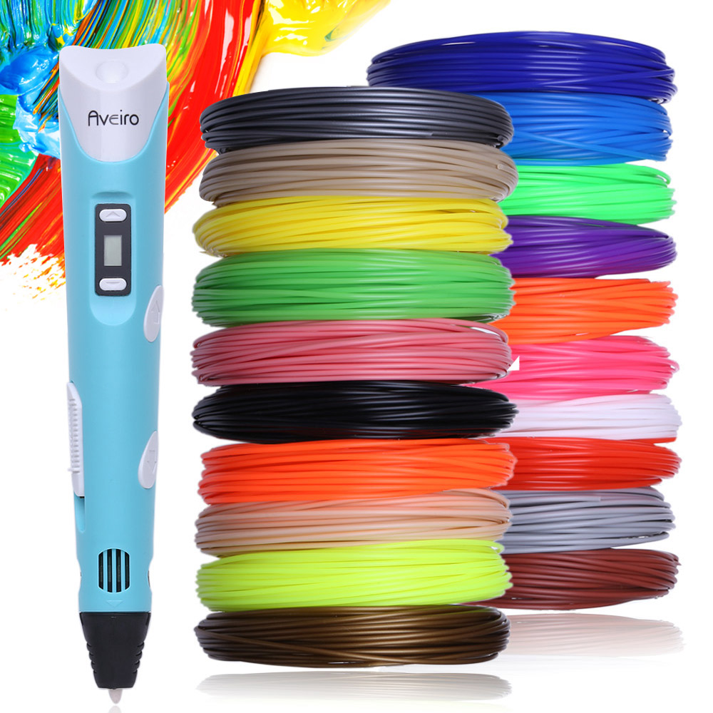 3d pen 200 meter 20 color PLA filament EU adapter LED display 3 d printing pen model creative toys pens children gift drawing 200 meter 20 color set 3d pen filament pla 1 75mm plastic rubber printing material for 3 d printer pen refills brithday gift
