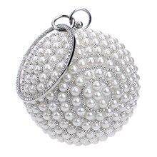 hot deal buy luxury handbags women bags designer full diamond pearl evening bags chain wedding party bag women round clutch handbag and purse