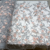 High end gray Lace Fabric, Africa Lace 2018 3D Lace Fabric With Beads and feathers A954 1