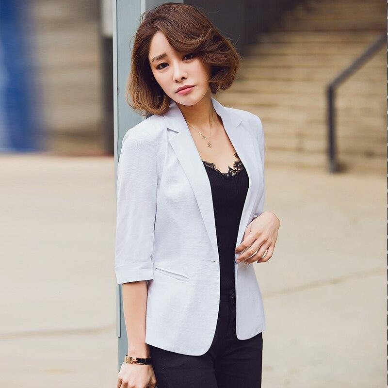2018 Fashion Summer Women 3/4 Sleeve Blazer New OL Thin Formal Slim Jackets Office Ladies Plus Size Work Wear Uniform F28