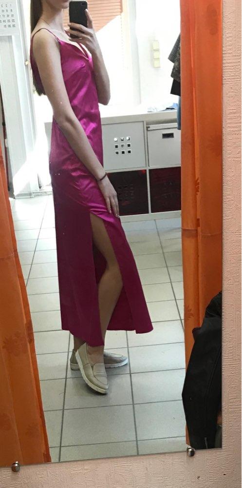 Spring Split Satin Long Dress Women Sexy V Neck Party Slip Dress Elegant Backless Beach Vestidos Mujer Robe Pull photo review