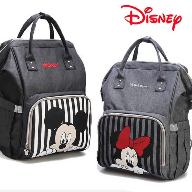 dc336230ced5 Disney Mickey Minnie Striped Best Diaper Bag Baby Bag Backpack Mummy  Maternity Care Large Capacity Nappy Bag USB Bottle Warmer