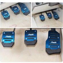 Универсальная алюминиевая механическая коробка передач, 3 шт., нескользящая накладка на педаль автомобиля, Комплект тормозных колодок для газа, набор педалей, красный/синий/серебристый, для стайлинга автомобилей