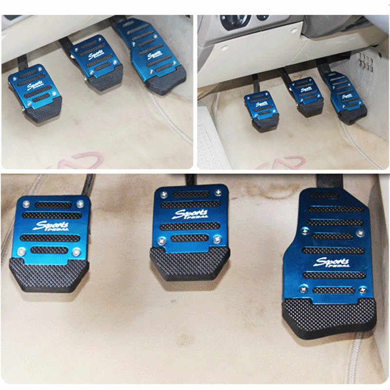 Universal Aluminium Manual Transmission 3 stks Antislip Auto Pedaal Cover Brake Gas Pad Set Kit Pedali Rood/ blauw/Zilver Auto-styling