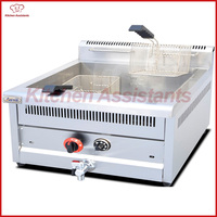 GF73A Gas Temperature controlled Fryer With temperature control(1 tank 2 baskets)