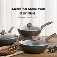 Japanese medical stone frying pan non stick wood handle wok fume free cooking pot fryer cooker cookware saucepan glass lid