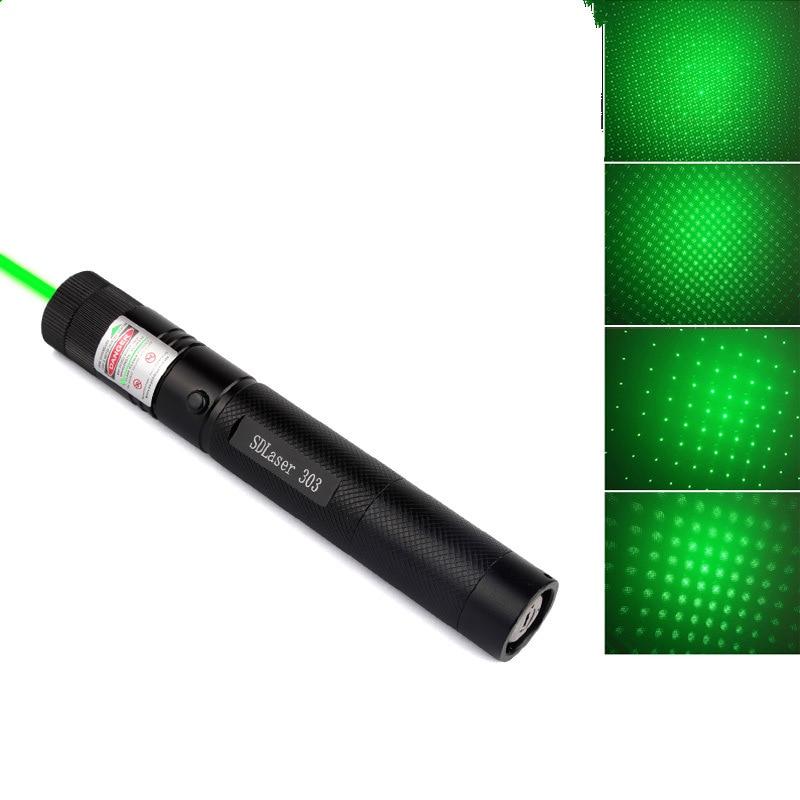 Hete Verkoop Voor 500-10000 Meters Groene Laser Laser Pointer Pen Verstelbare Focus Lit Match Leisure 303 Ingetoetst Niet Inbegrepen Batterij