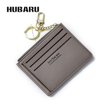 HUBARU Dames Portemonnees Houders Mode PU Portemonnee Portemonnee Vrouwelijk Slank Ontwerp Munt Zwarte kleur Koppelingsklem