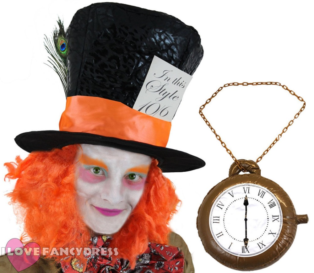 Alice in Wonderland fancy dress Mad hatter hat with Orange hair and a feather