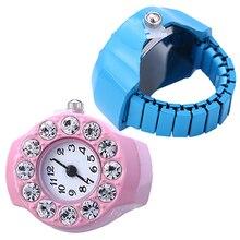 Men's Women's Silicon Round Rhinestone Elastic Quartz Finger Ring Watch Gift