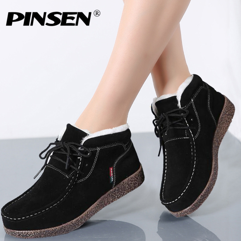 PINSEN Classic Women Winter Boots Suede Ankle Snow Boots Female Warm Plush Insole High Quality Ankle Boots For Women Mujer 2017 new fashion women winter boots classic suede ankle snow boots female warm fur plush insole high quality botas mujer lace up