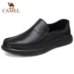 Image 1 - Zapatos para hombre de piel auténtica CAMEL, mocasines cómodos de alta calidad, calzado Formal de negocios para hombre, mocasines masculinos 47
