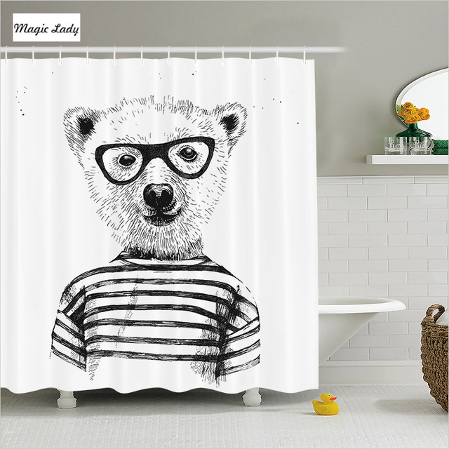 Shower Curtain Funny Bathroom Accessories Hipster Nerd Smart Bear Glasses  Decor Animal Black White 180*