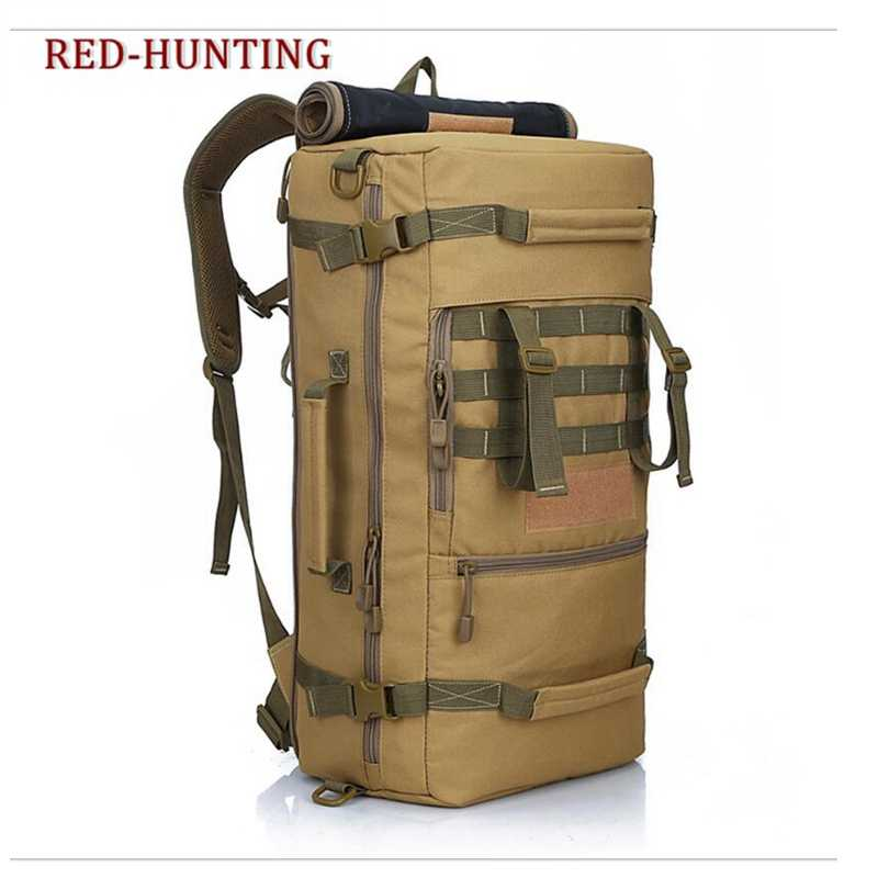 Army Outdoor 60L Military Bag Durable Unisex Tactical Backpack Bag Oxford Single Shouder Bag for Camping Hiking Climbing