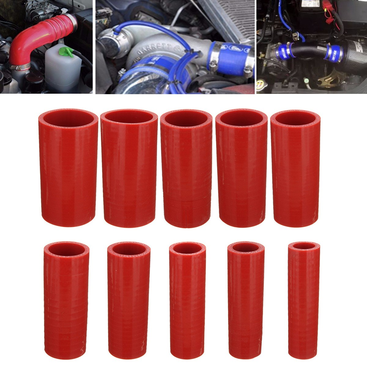 100mm Red Straight Silicone Hose Coupling Connector Silicon Rubber Tube Joiner Pipe Ash