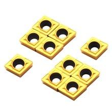 10 шт. золотые CCMT060204-HM YBC251 твердосплавные вставки толщиной 2,5 мм с пластиковой коробкой для токарного станка с ЧПУ токарные инструменты