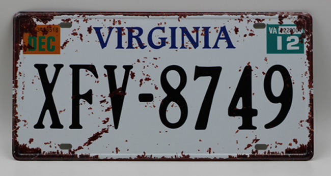 1 pc Virginia tin sign plate US American car license plaques man cave garage
