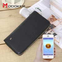 genuine leather wallet tracking anti theft smart wallet Long Card Holder Top Quality PU Leather Men Slim Purse Classic Business