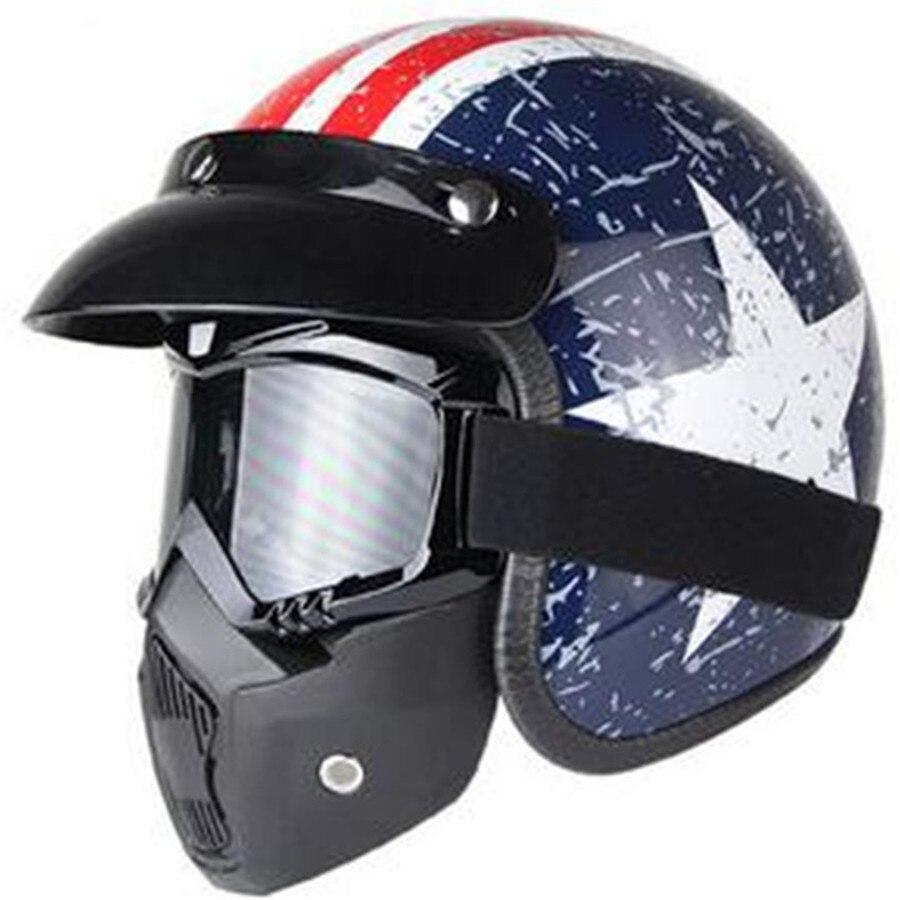 VENTE CHAUDE professionnel Rétro Moto casque Goggle Masque enlevé Vintave masque open face casque croix approuvé DOT